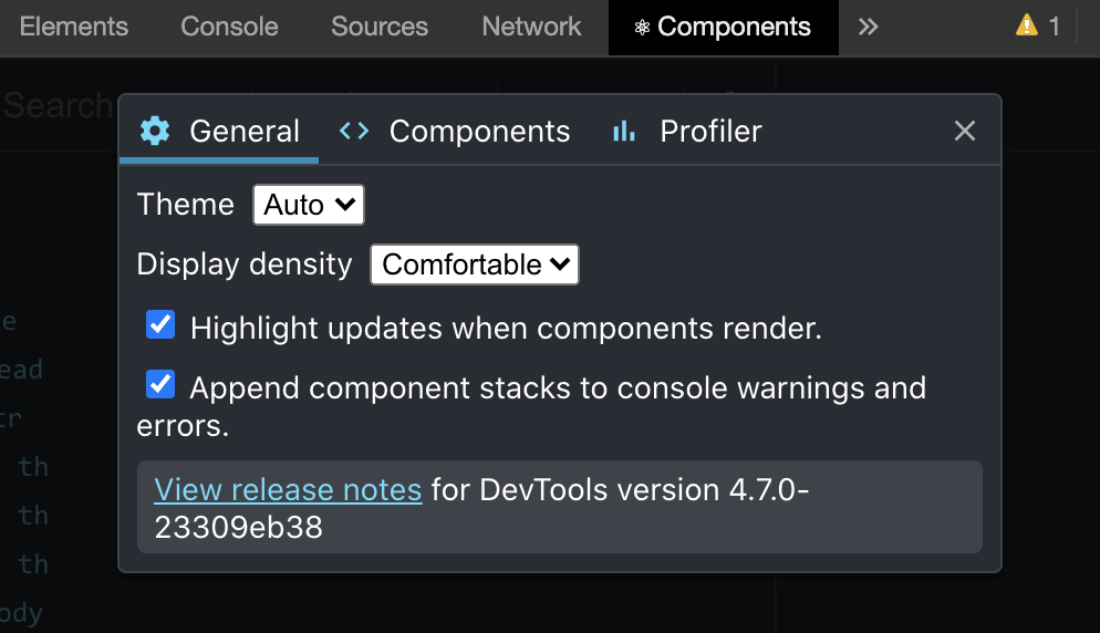 Component tab in dev tools
